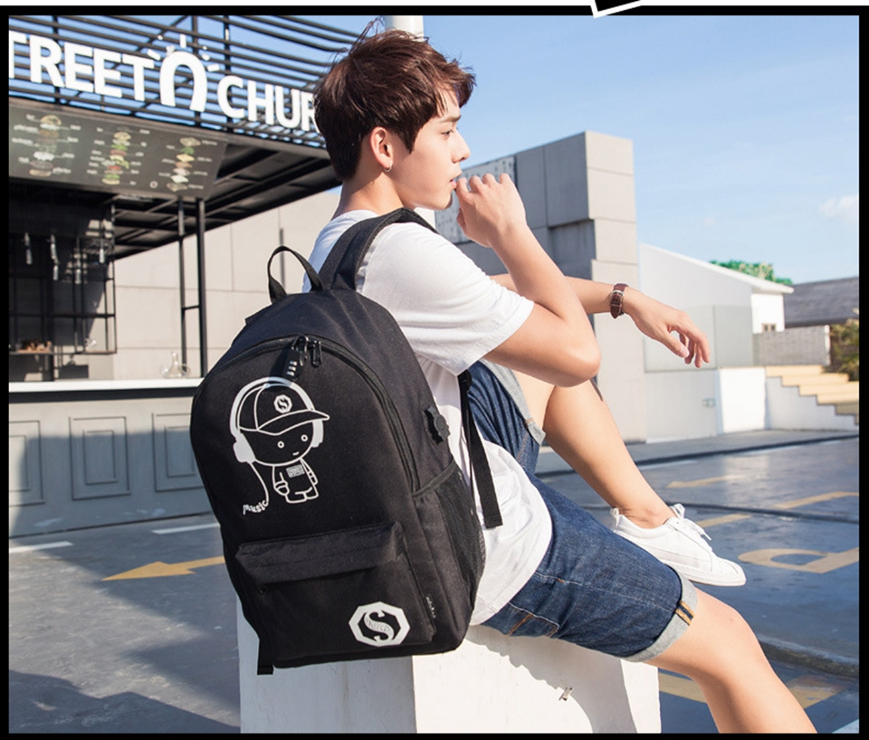 faculdade bookbag anti-roubo mochila portátil com porta