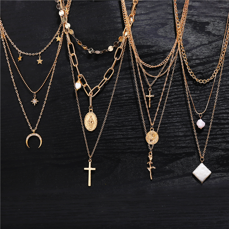 2019 Hot Silver//Gold Multi Layer Tassel Pendant Link Chain Necklace for Girls