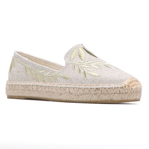 Image 3 - 2020 Hot Sale Real Flat Platform Hemp Rubber Slip on Casual Floral Zapatillas Mujer Sapatos Womens Espadrilles Flat Shoes