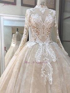 Image 3 - جوليا كوي رائع الشمبانيا الكرة ثوب الزفاف مع كم طويل أنيق الزفاف الدانتيل فستان الزفاف
