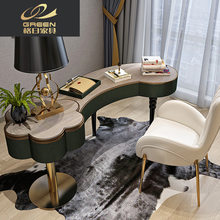 Light luxury Scandinavian style paint office home study desk stainless steel legs creative computer desk(China)