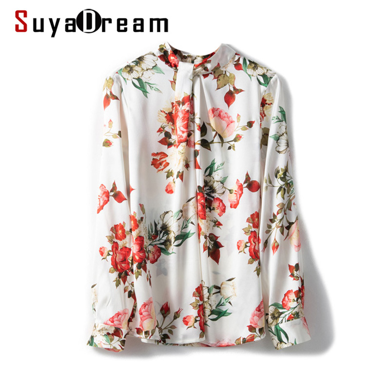 SuyaDream Women Silk Blouse 92%Silk 8%Spandex Floral Printed Long Sleeved Stand Collar Blouses OFFICE Lady SHIRT 2020 Spring