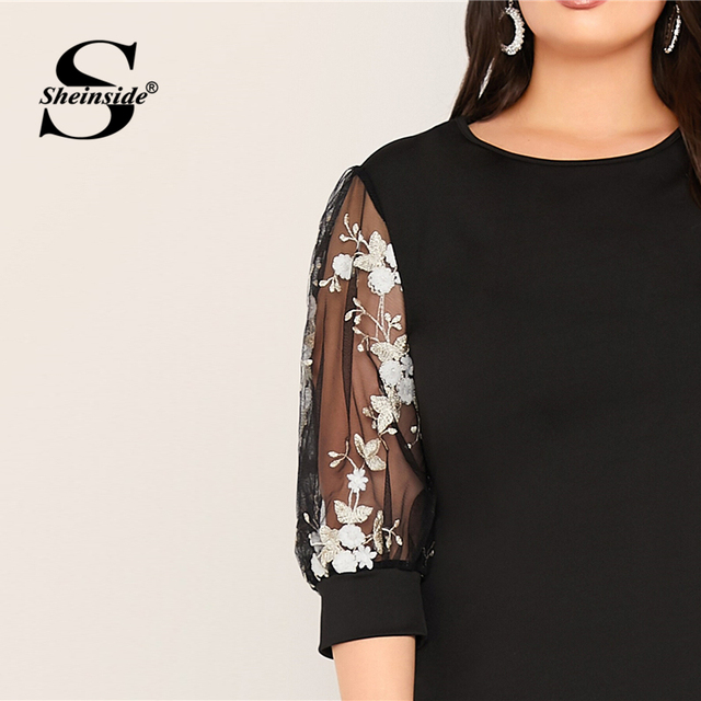 Sheinside Plus Size Black Elegant Contrast Embroidery Mesh Dress Women 2019 Autumn 3/4 Sleeve Straight Dresses Ladies Maxi Dress 3