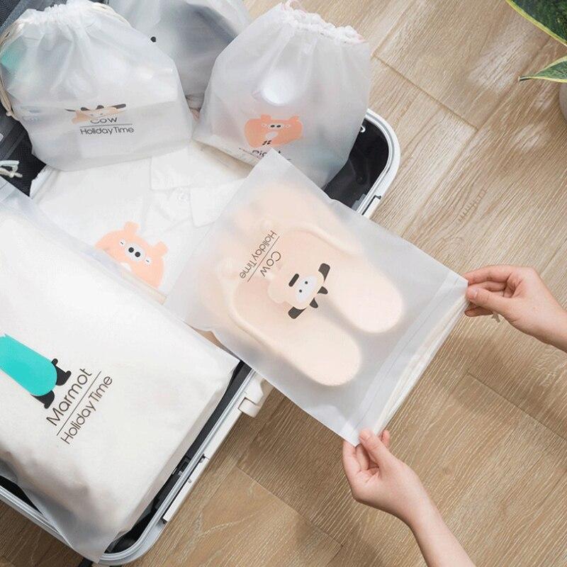 portable Waterproof travel cute cartoon bundle pocket drawstring storage bag outdoor travel shoe bag makeup bag household item