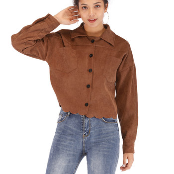 Fashsiualy Fashion Spring Autumn Women Lady Thin Jackets Women Long Sleeve Button Corduroy Casual Coat Brown Abrigo de pana #827