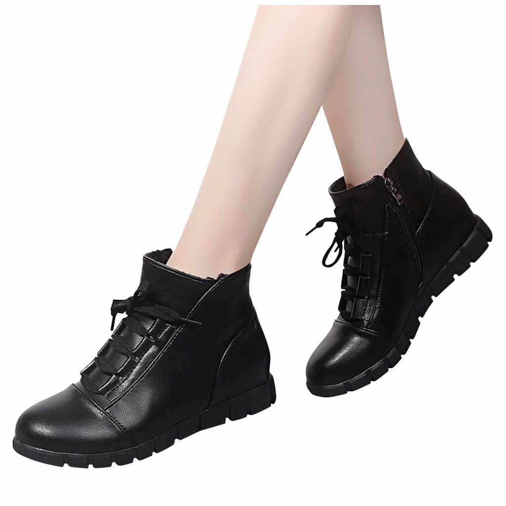 Winter Laarzen Vrouwen Platform Sneeuw Schoenen Vrouw Rits Lace-up Korte Laarsjes Zachte Zuivere Zwarte Zapatos De Mujer Ботинки женские #25