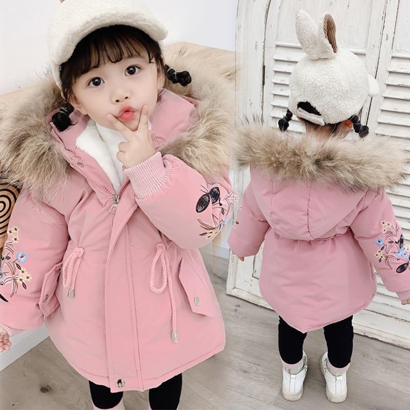 Детская зимняя куртка с капюшоном с меховой отделкой для маленьких девочек плащ-Тренч пальто для мальчиков теплая одежда для детей Детские ...
