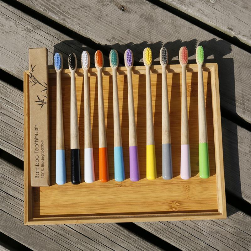 Новый дизайн, разноцветная бамбуковая зубная щетка, Экологичная деревянная зубная щетка с мягкой щетиной, зубная щетка для взрослых с уголь...