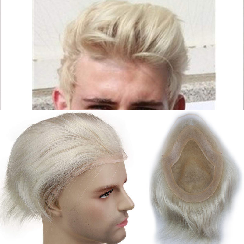 #60 Blonde Human Hair Toupee For Men Mono Transparent Lace Toupee With Skin PU Around 8X10 Lace Top European Remy Hair Eseewigs