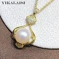Yikalaisi 925 prata esterlina jóias pérola pingentes 2020 fina natural oblate pérola jóias 8-9mm pingentes para venda por atacado