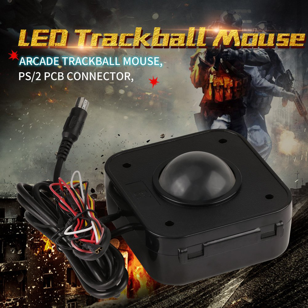 High Sensitivity Mice Connector Accessories Portable Illuminated Round Lighted Arcade Game LED Trackball Wired Mouse Stable