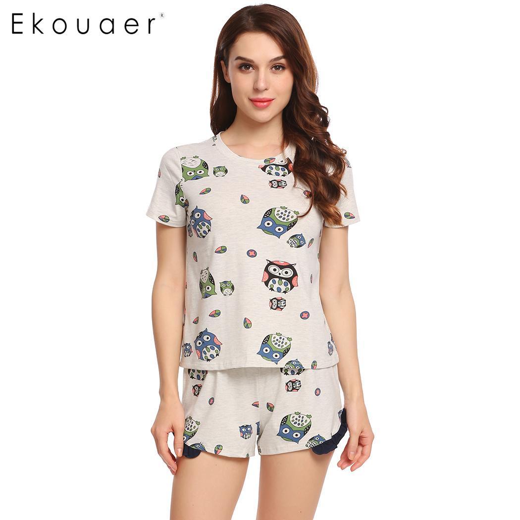 Ekouaer Summer Pajama Sleepwear Sets Women Nightwear Short Sleeve Print Nightshirt Ruffles Pj Short Pajamas Set Home Clothes