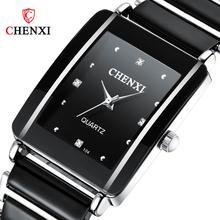CHENXI Brand New Style Women Watch Elegant Black and White Ceramic Quartz Watch Simple Fashion Wild Diamond Ladies Gift Clock swatch watch skin series fashion black and white quartz watch syxs100