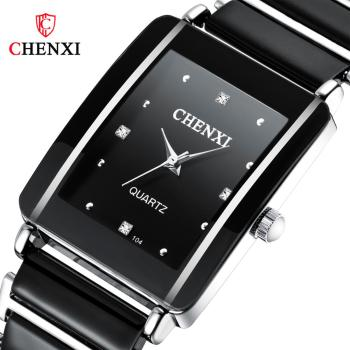 CHENXI New Style Quartz Watch For Women Elegant Black And White Ceramic Simple Fashion Wild Diamond Ladies WristWatch