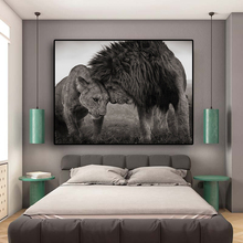 Lions Head to Head Black and White Canvas Art Painting Posters and Prints Scandinavian Cuadros Wall Art Picture for Living Room