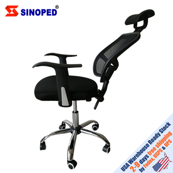 【US Warehouse】Mesh Back Gas Lift Back Tilt Adjustable Office Swivel Chair with Headrest mesh chair swivel office chair high back gas lift armchair rolling legs office furniture hot sale
