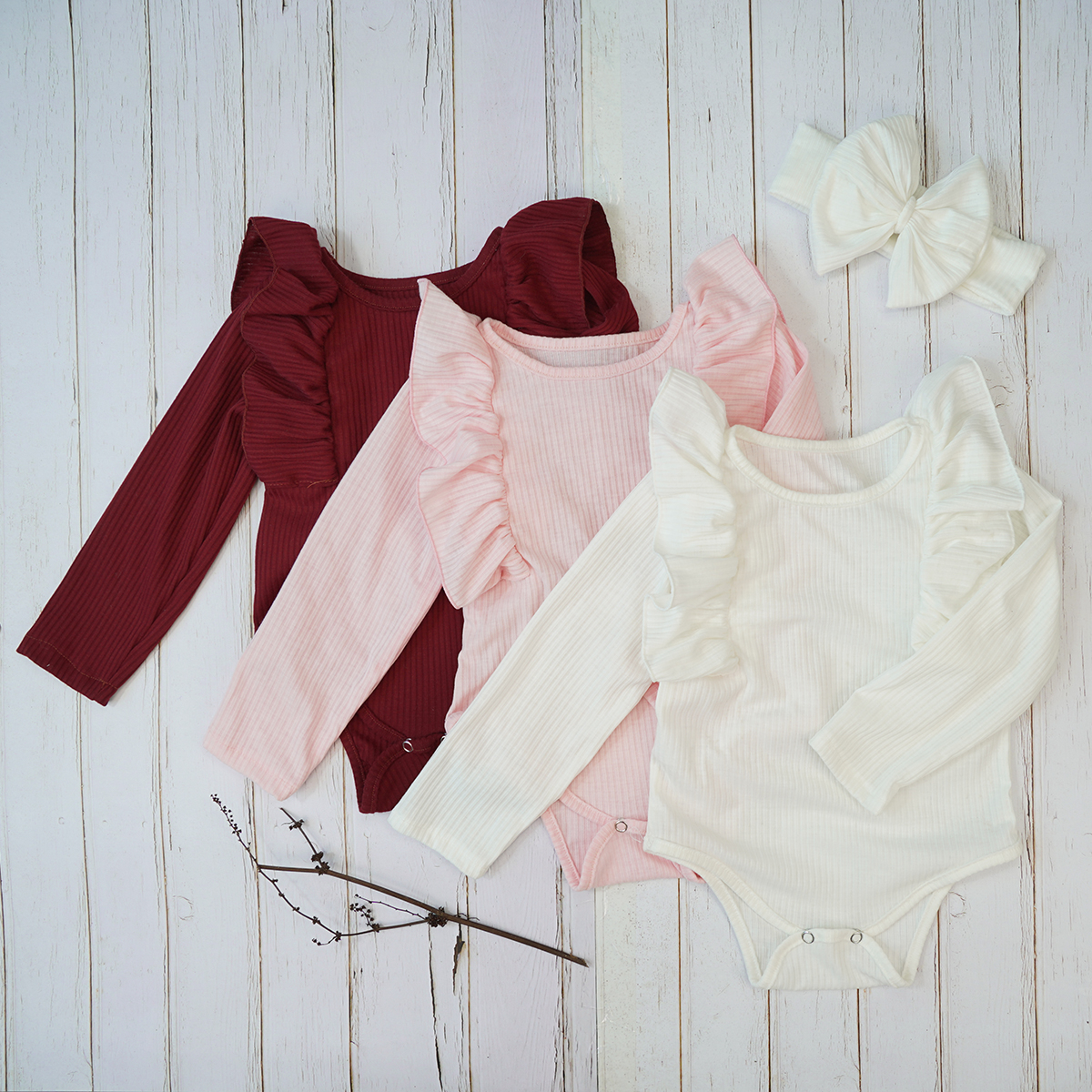 New Baby Girls Autumn Rompers Long Ruffle Sleeve Headband Set Body Suit Winter Pink White Tops Clothes For Children Kids Toddler