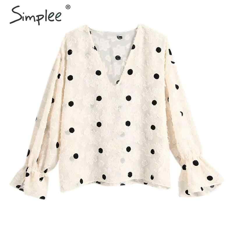 Simplee Elegant Polka dot พิมพ์เสื้อชีฟองผู้หญิง V คอแขนยาวหญิงเสื้อ TOP Patchwork สุภาพสตรี Tops