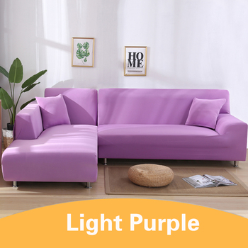 2Pcs Sofa Cover for Living Room Couch Cover Elastic L Shaped Corner Sofas Covers Stretch Chaise Longue Sectional Slipcover - purple, 3-Seat and 4-Seat