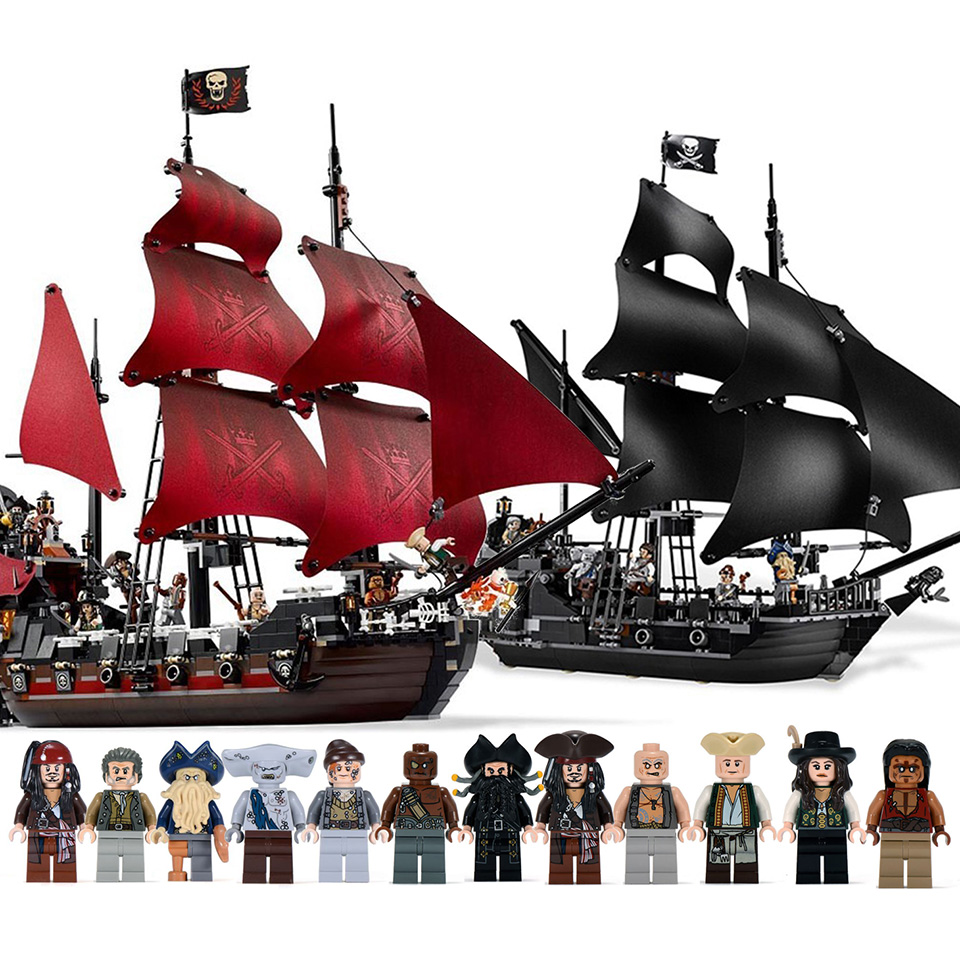 Black Pearl Ship Queen Anne's Revenge Pirates Caribbean Bricks Legoinglys Pirates Ship Boat Model Building Block Boys Gifts Toys