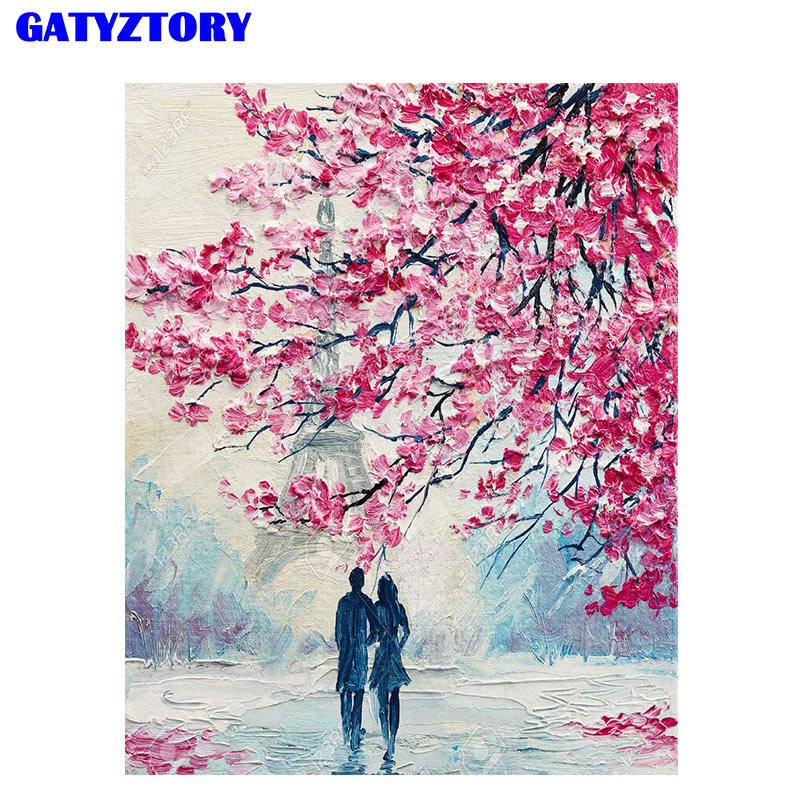 GATYZTORY Frame Paris Romantic Diy Painting By Numbers Canvas Painting Acrylic Wall Art Picture Unique Gift For Home Decors Art thumbnail