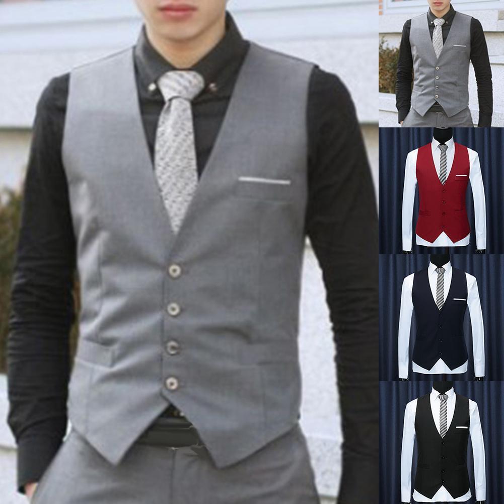 Men Formal Waistcoats Dress Suit Vest Slim Three Button Polyester + Spandex Vest Men Casual Sleeveless British Autumn Suit Vests
