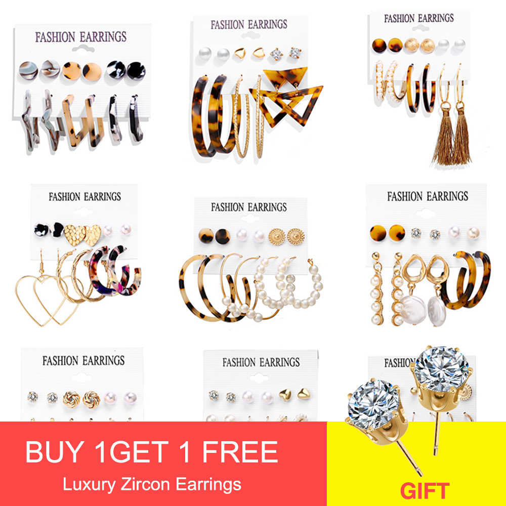 ZA 2019 Hot Sale Acrylic Resin Leopard Stud Earring For Women Fashion Tortoiseshell Geometry Acetate Party Jewelry Brincos