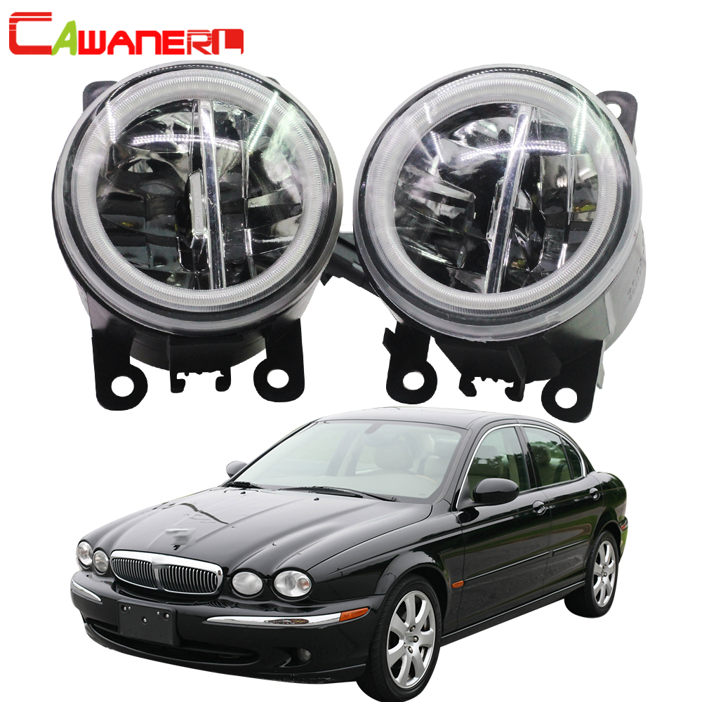 Cawanerl For 2001-2009 Jaguar X-Type (CF1) Saloon Car LED Bulb Fog Light + Angel Eye DRL Daytime Running Light 12V Accessories