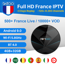 DATOO Arabic France IPTV 1 Year Code HK1 MINI+ Android 9.0 4G+32G BT Dual-Band WIFI Portugal Spain Box