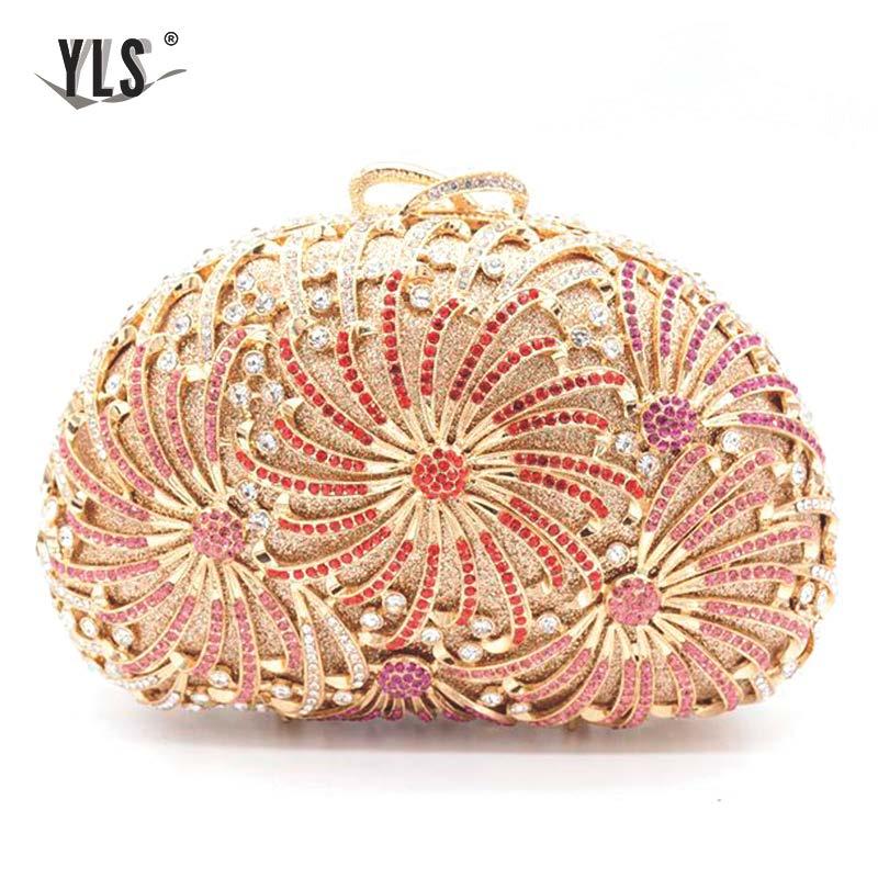 Dames embrayages en gros femmes luxe diamant boîte de soirée strass pochette et sacs de soirée avec chaîne - 4