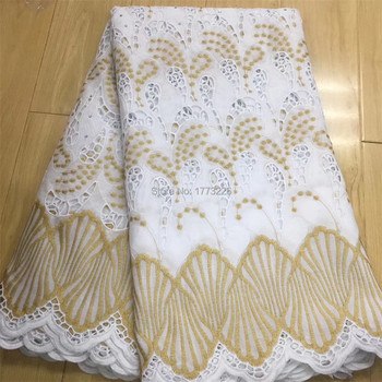 Hollow Design African Dry Lace Fabrics High Quality 100% Cotton Lace Fabric White/Gold Stones Swiss Voile Lace In Switzerland FS