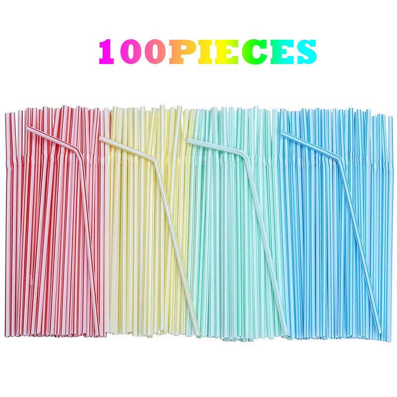 100pcs 8 Inches Long Plastic Drinking Straws Multi-Colored Striped Bedable Disposable Straws Party Multi Colored Rainbow Straw