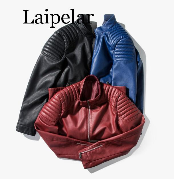 Laipelar New Red Leather Jacket Mens Youth Spring Autumn High Quality Male Leather Jackets Fashion Red Blue Man Leather Coat