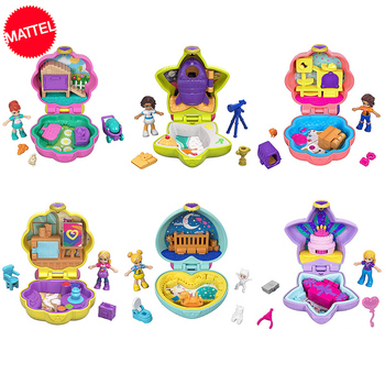 الأصلي بولي جيب العالم لعب صغيرة صندوق مع الملحقات بيوت الدمية الفتيات تولد من جديد اللعب Juguداعي فتاة صغيرة بيت الدمية مصغرة