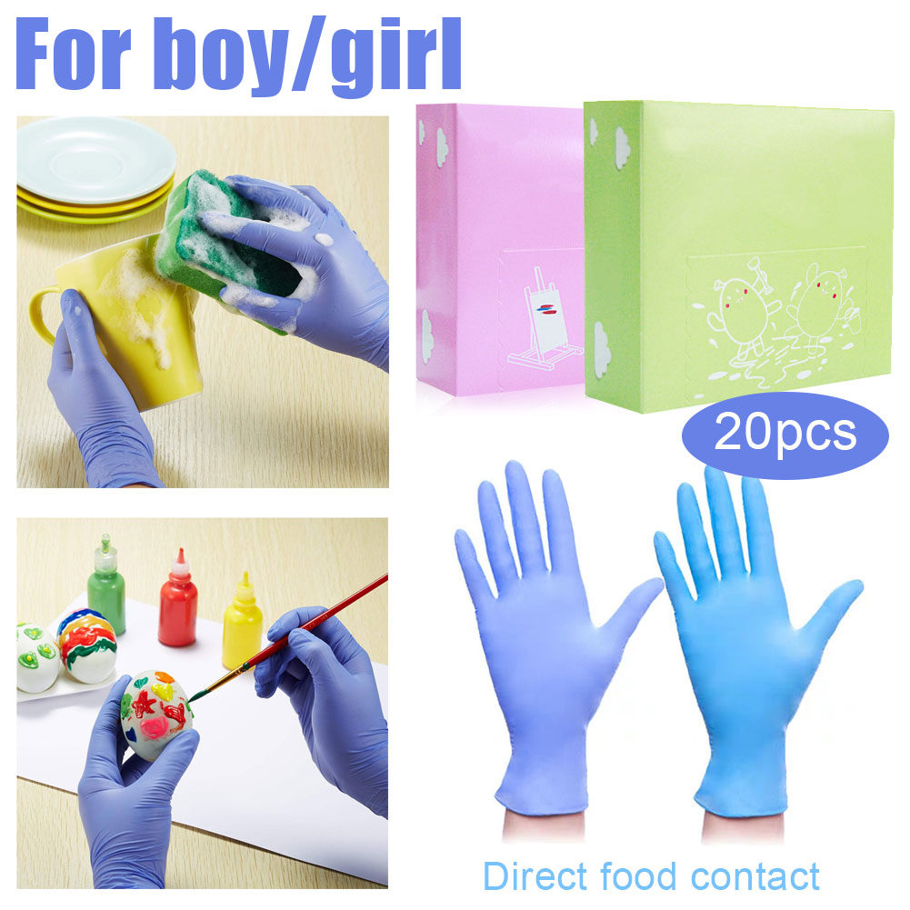 20pcs Disposable Nitrile Children Toddler Students Gloves Graffiti Painting Pinch Mud Protection 3-12 Years Old Boys Girls