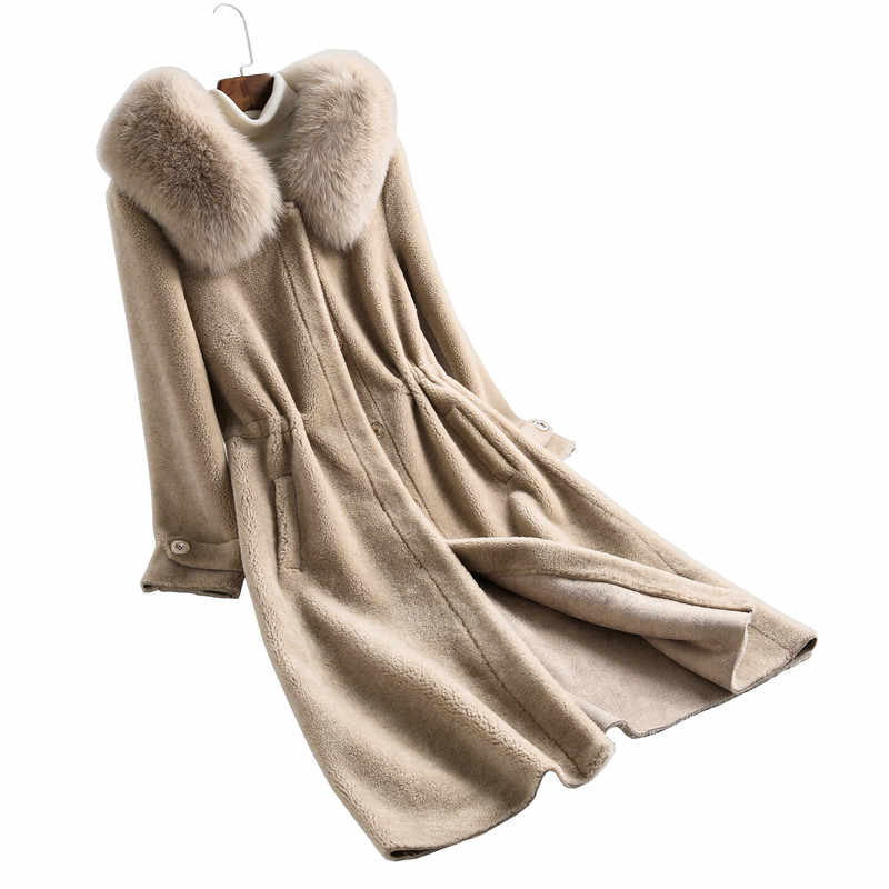 女性新冬ロング服天然羊毛毛皮ナチュラル本物フォックス毛皮の襟フード毛皮ジャケット sr715