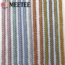 Meetee 22M 1cm Colored Curve Lace Knitted Decor Braided Trim Ribbon Webbing DIY Accessories Home Clothing Sewing Accessory