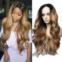 13*6 Lace Frontal Human Hair Wig with Baby Hair Ombre Blonde Wavy Glueless Brazilian for Black Women Remy Hair Natural Hairline(China)
