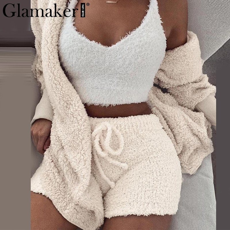 Glamaker Knitted 2 Piece Set Short Jumpsuit & Romper Women Autumn Soft Warm Sexy Playsuit Winter Female Plus Size Club Overalls