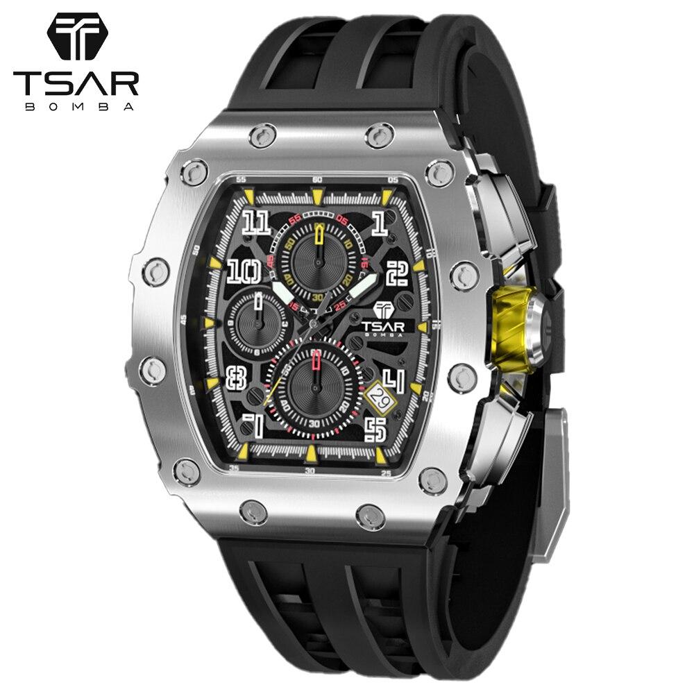 TSAR BOMBA часы Для мужчин Элитный бренд Автомобильный дизайн 100 м Водонепроницаемый 316L Нержавеющаясталь наручные часы, спортивный стиль, с хро...