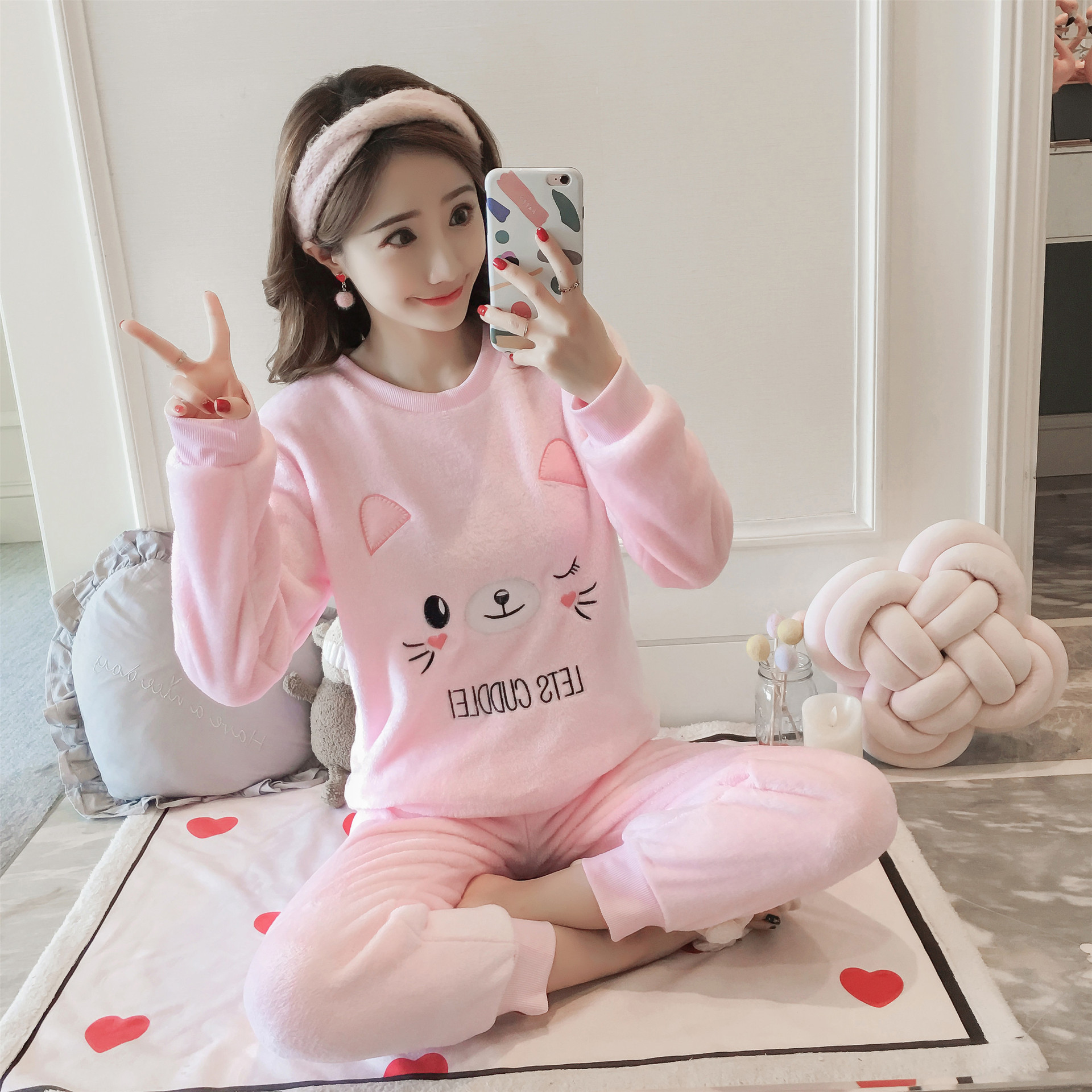 Fleece Thick Cartoon Print Cheshire Cat Pajamas 2019 Sprint Winter Long Pants 2 Pieces Pajama Set Elastic Waist Pyjamas S99102
