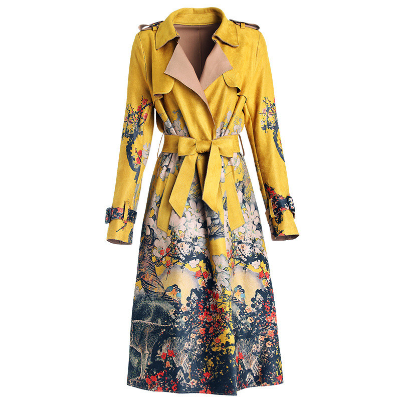 2019 Autumn Women's Casual Trench Coat Suede Oversize Print Vintage Windbreaker Female With Belt Slim Outwear Yellow Top M421