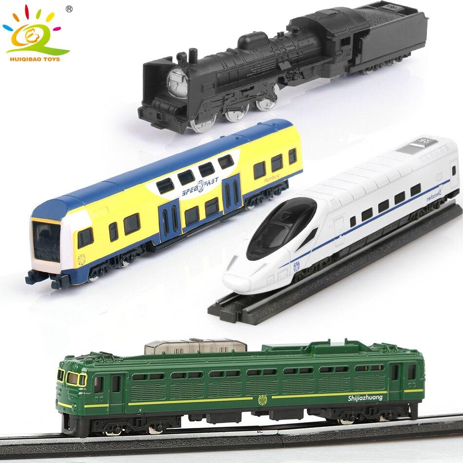 4 unids/set equipos de construcción de modelos de aleación de Metal de tren de vía de vapor de alta velocidad los niños
