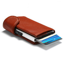 Bycobecy 2020 Metal RFID Credit Card Holder Men Business ID Card Case Automatic RFID Card Wallet Aluminium Bank Card Wallets(China)