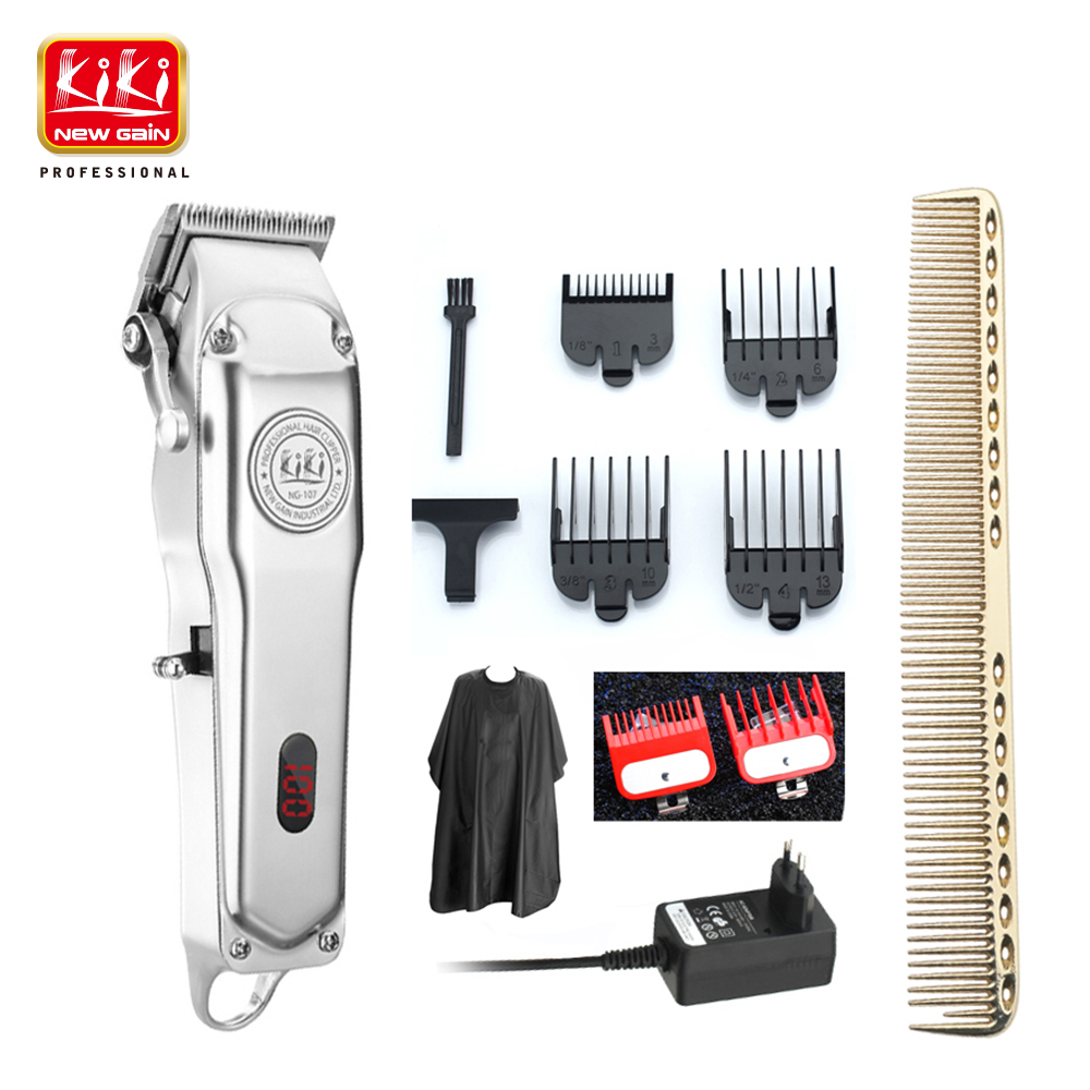 KIKI NEWGAIN Rechargeable All Metal Hair Clipper Cordless Electric Hair Trimmer Professional Haircut Beard Shaver Machine