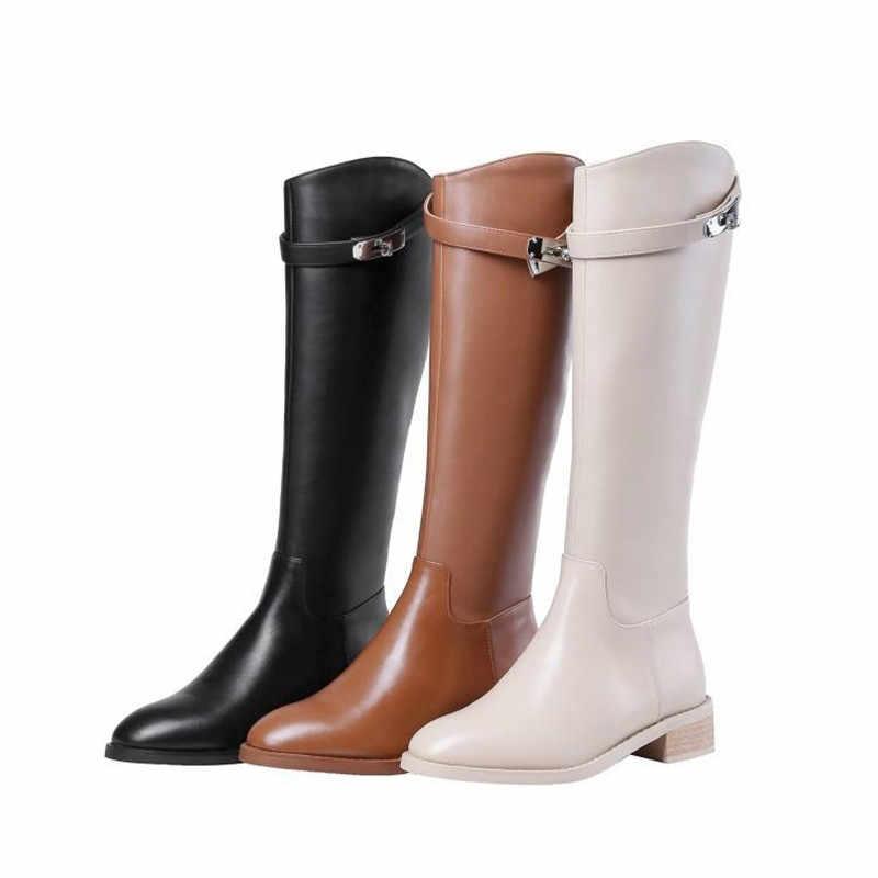 Prova Perfetto Köpekbalığı Toka Çizmeler Sonbahar Kış sıcak Diz Yüksek Çizmeler Ayakkabı Kare Topuklu Zip Siyah Bej Sürme Uzun Çizmeler kadın