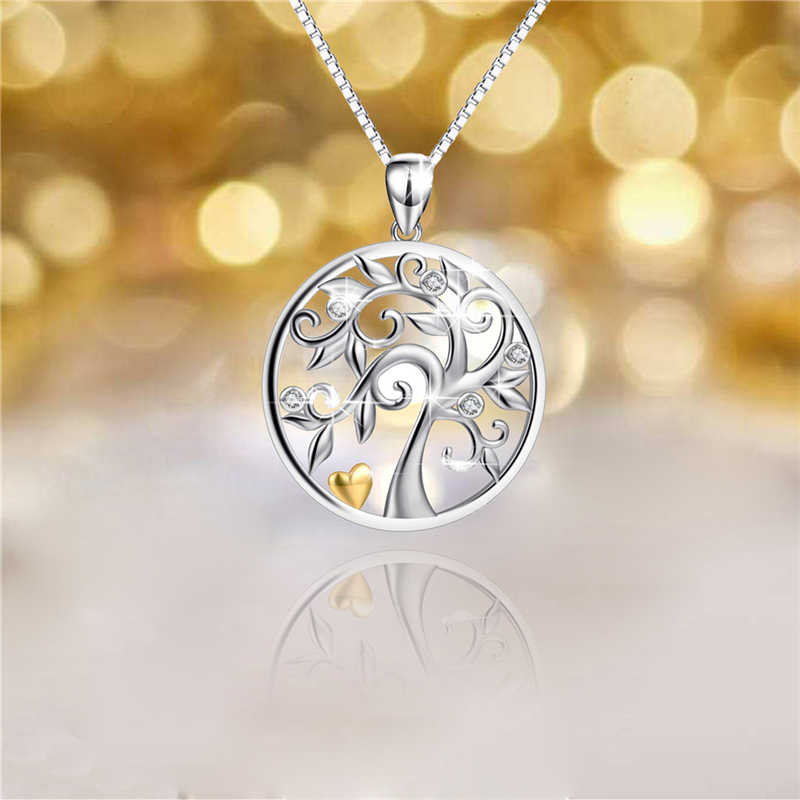 High-End 925 สร้อยคอเงินผู้หญิง AAA Zircon Pave Tree of Life Charm สร้อยคอ Choker Collar งานแต่งงานเครื่องประดับ