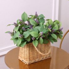 5 Fork Simulation Plant Perilla Leaves Bunch Silk Cloth Fake Flower Interior Home Wedding Decoration Material Wall Accessories seven silk cloth sunflowers in bunch stylish ornaments decorations yellow green