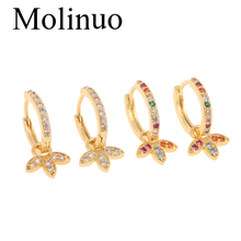 Molinuo new multi-color cubic zirconia U-shaped pendant earrings charm cute girl woman petal-shaped 2019