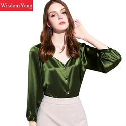 Spring Autumn Women Beige Green Real Silk Vneck Long Lantern Sleeve Loose Top Blouses Female Elegant Office Ladies Blouse Shirts